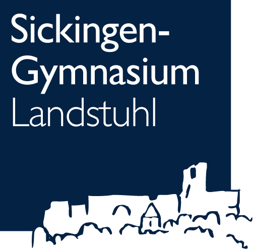 Logo des Sickingen-Gymnasiums: Schriftzug mit Silhouette der Burg Nanstein im Anschnitt unten rechts.